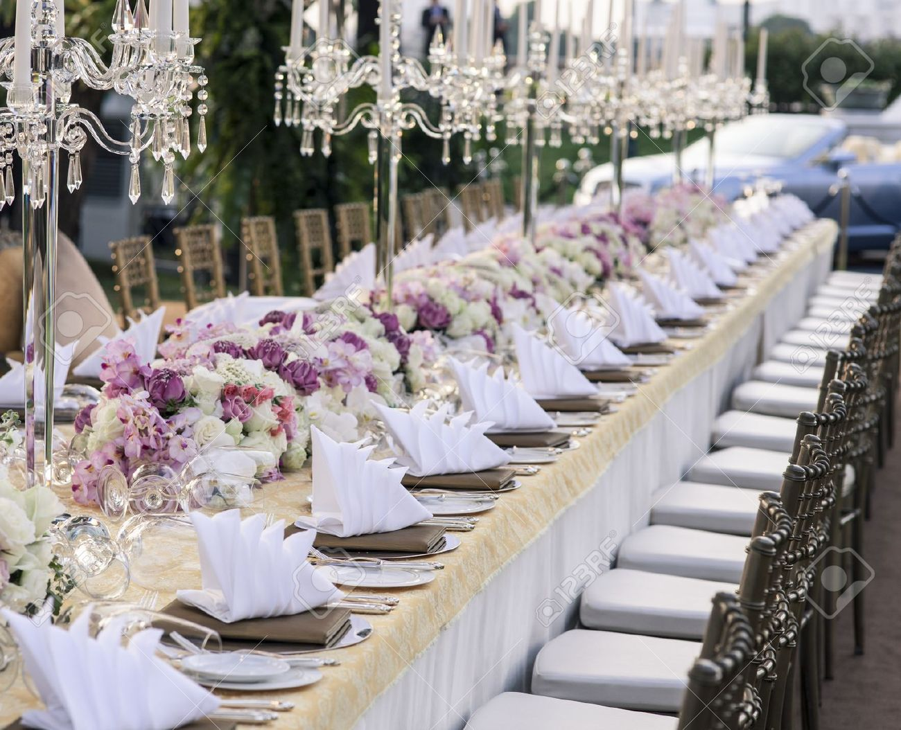 VINTAGE RECEPTION 17901673 The elegant dinner table Stock Photo wedding table reception